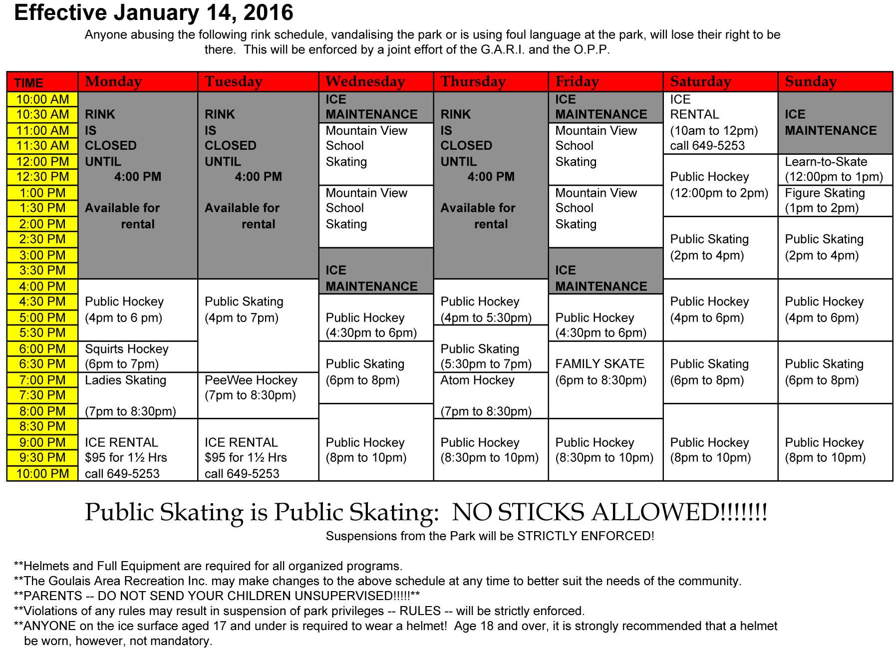 2016 Rink Schedule
